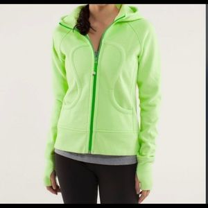 Lululemon 🦄 lime Green scuba hoodie